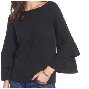 Madewell Charcoal Dark Grey Ruffle Sleeved Sweater